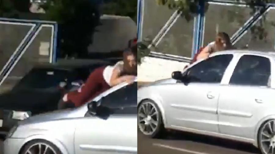 Motorista acelera com mulher no capô do carro no PR - Reprodução/Twitter
