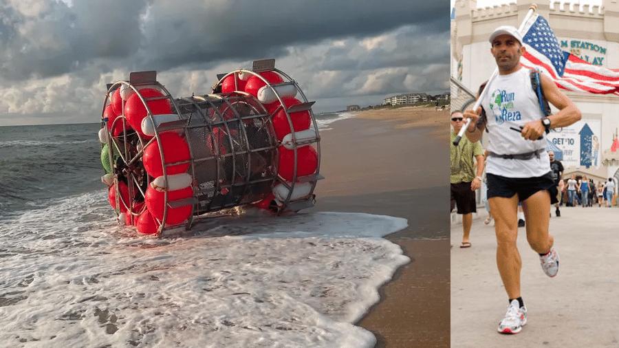 """Dispositivo flutuante no qual o maratonista Reza Baluchi pretende realizar o trajeto da Flórida até Bermudas """"correndo"""" no mar - Departamento de Polícia de Flagler/Arquivo pessoal"""