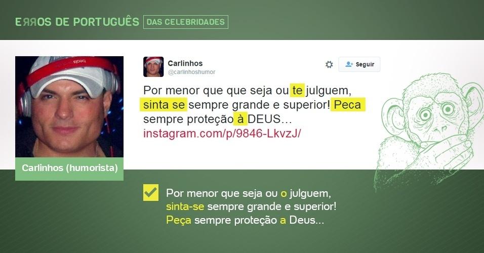 erros de português de celebridades - Carlinhos