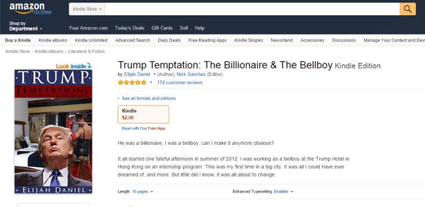 """Página da venda do romance """"Trump Temptation: The Billionaire and the Bellboy"""" (""""A Tentação de Trump: O Bilionário e o Carregador de Malas"""", em tradução livre) na Amazon"""