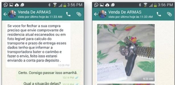 Negociação de venda de armas por grupo do WhatsApp