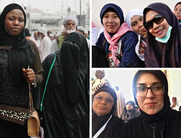 Mulheres que participaram do hajj. Na foto abaixo, à direita, a jornalista Diaa Hadid