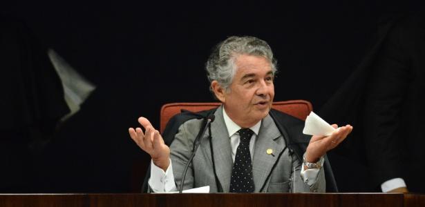 17.abr.2018 - Ministro Marco Aurélio Mello durante audiência do Supremo Tribunal Federal (STF) - Renato Costa/Estadão Conteúdo