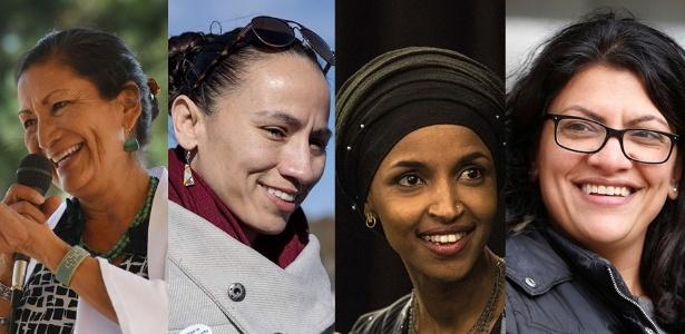 Deputadas eleitas para o Congresso americano Debra Haaland, Sharice Davids, Ilhan Omar e Rashida Tlaib (da esquerda para a direita)