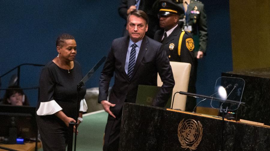 O presidente da República Jair Bolsonaro fala durante abertura da 74ª Assembleia Geral da Organização das Nações Unidas (ONU) em Nova York nos Estados Unidos em 2019 - William Volcov/Brazil Photo Press/Folhapress