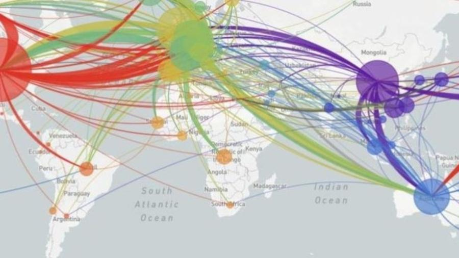 Site NextStrain apresenta mapeamento das variações genéticas do vírus e as conexões entre os casos ao redor do mundo - Reprodução