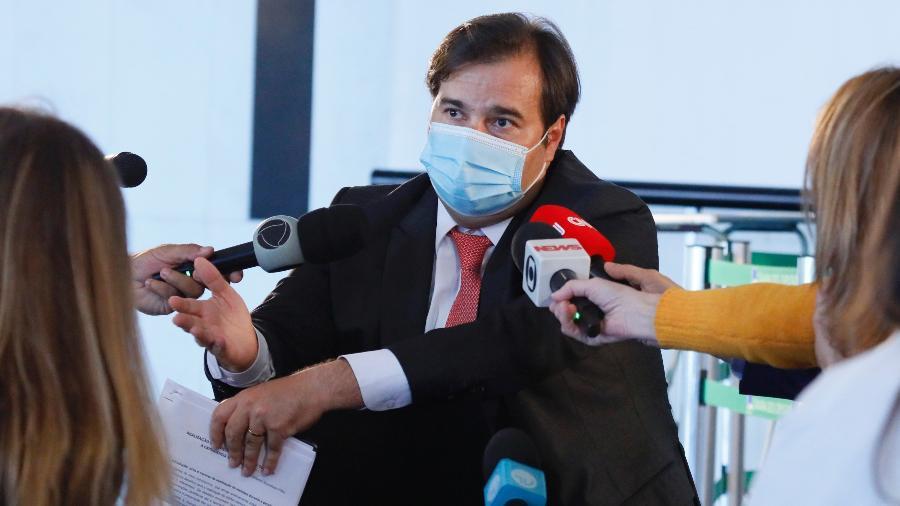 21.mai.2020 - O presidente da Câmara dos Deputados, Rodrigo Maia (DEM-RJ), em entrevista coletiva sobre a crise do coronavírus - Najara Araújo/Câmara dos Deputados