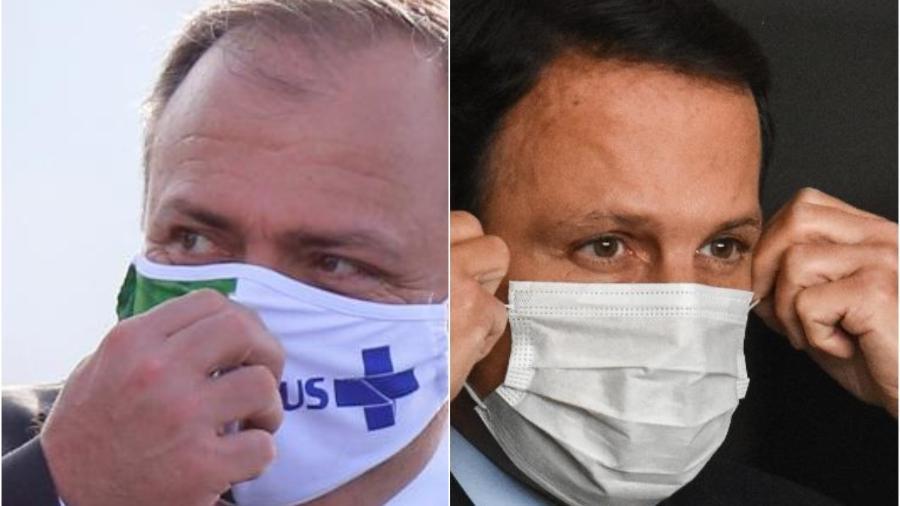O ministro da Saúde Eduardo Pazuello e o governador João Doria: eles são personagens de dois países diferentes diante da mesma pandemia - Adriano Machado e Roberto Casimiro/Fotoarena/Estadão Conteúdo