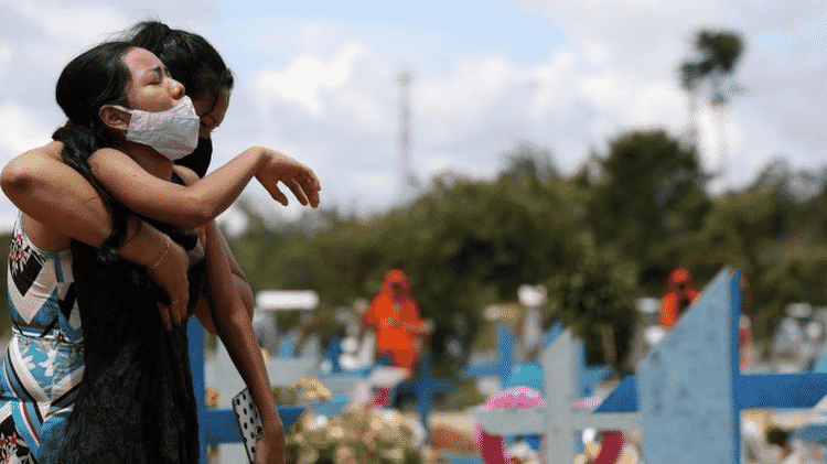 É como se a pandemia já tivesse matado três Maracanãs lotados; acima, enterro em Manaus - Reuters - Reuters