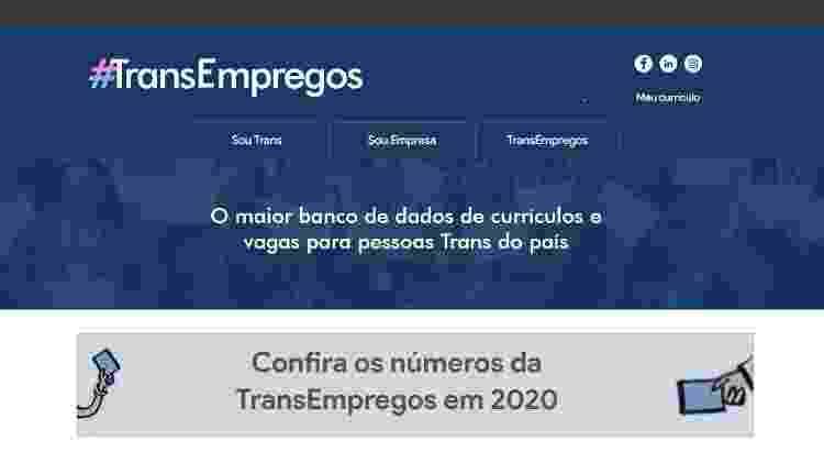 Plataforma Transempregos - Reprodução - Reprodução