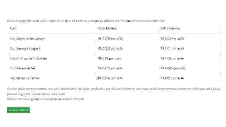 Planilha com os valores pagos para cada ação na plataforma Ganhar no Insta 2 - Reprodução do site - Reprodução do site
