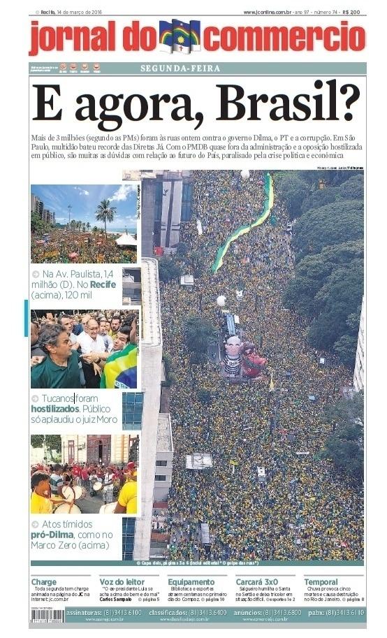 PE: Capa do Jornal do Commercio de 14 de março de 2016