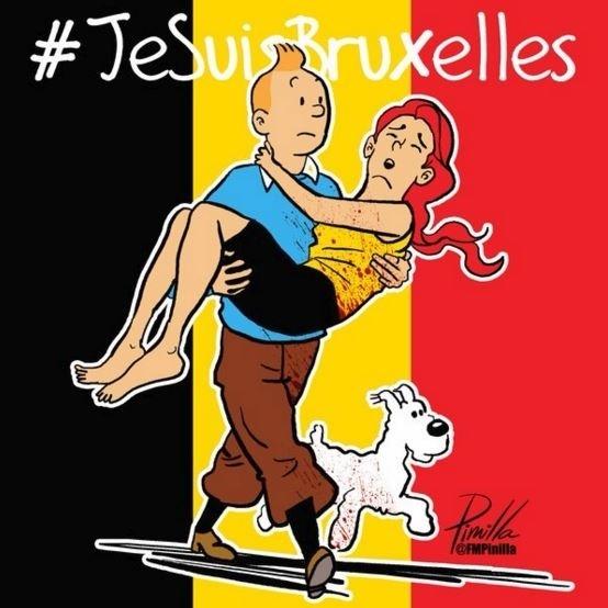 22.mar.2016 - O cartunista Fernando Pinilla, que vive na Venezuela, também dedicou uma homenagem às vítimas dos ataques terroristas em Bruxelas usando o personagem Tintim, do renomado cartunista belga Hergé (1907 - 1983)