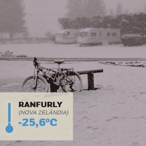 1º.jul.2016 - RANFURLY (NOVA ZELÂNDIA), -25,6°C: Foi nessa cidade construída a partir de um terminal ferroviário que foi registrada a temperatura mais baixa da Oceania:  -25,6°C, em 17 de julho de 1903. Uma grande nevasca que acometeu a região naquele inverno severo e de longa duração. No entanto, no inverno, os termômetros costumam marcar -5°C. Ranfurly é uma cidade grande, com edifícios modernos - Shellie/Flickr/Creative Commons