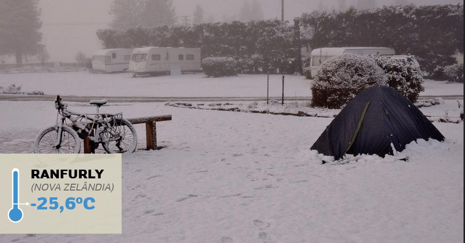 1º.jul.2016 - RANFURLY (NOVA ZELÂNDIA), -25,6°C: Foi nessa cidade construída a partir de um terminal ferroviário que foi registrada a temperatura mais baixa da Oceania:  -25,6°C, em 17 de julho de 1903. Uma grande nevasca que acometeu a região naquele inverno severo e de longa duração. No entanto, no inverno, os termômetros costumam marcar -5°C. Ranfurly é uma cidade grande, com edifícios modernos