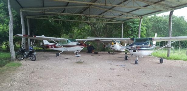 Aeronaves apreendidas pela PF na operação All In, de combate ao tráfico de drogas