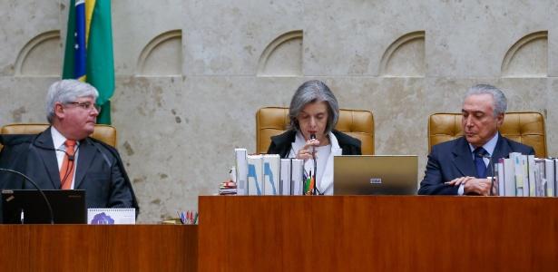 Janot (e) pode apresentar outra denúncia contra Temer (d) ao STF, presidido pela ministra Cármen Lúcia