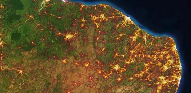 Mapa de calor do Strava mostra locais com mais gente usando o app - Reprodução