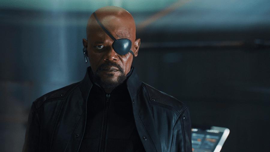Nick Fury (Samuel L. Jackson) com seu famoso tapa-olho - Reprodução