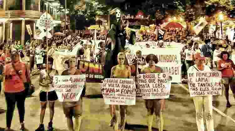 Em BH, manifestantes também lembraram vítimas dos rompimentos das barragens de Mariana e Brumadinho - Reprodução/Facebook Frente Brasil Popular - Minas