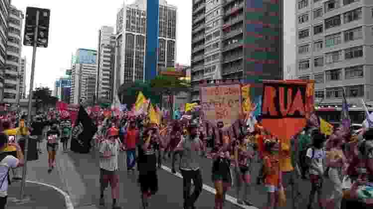 Último ato da campanha de Guilherme Boulos na avenida Paulista interditou a avenida - Nathan Lopes/UOL - Nathan Lopes/UOL