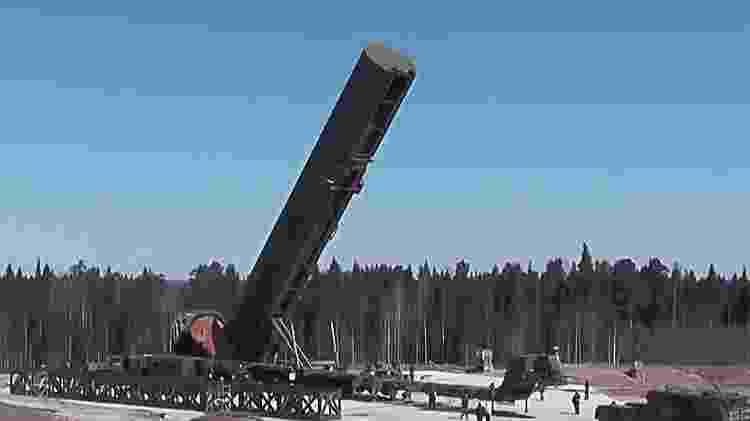 O míssil hipersônico RS-18 Sarmat acoplado em uma base militar russa - Divulgação/Ministério da Defesa da Rússia - Divulgação/Ministério da Defesa da Rússia