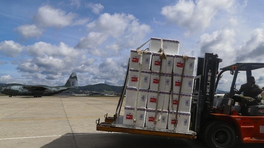 Lotes da CoronaVac, vacina para a covid-19, são transportadas em base aérea de São Paulo - Miguel Schincariol/AFP