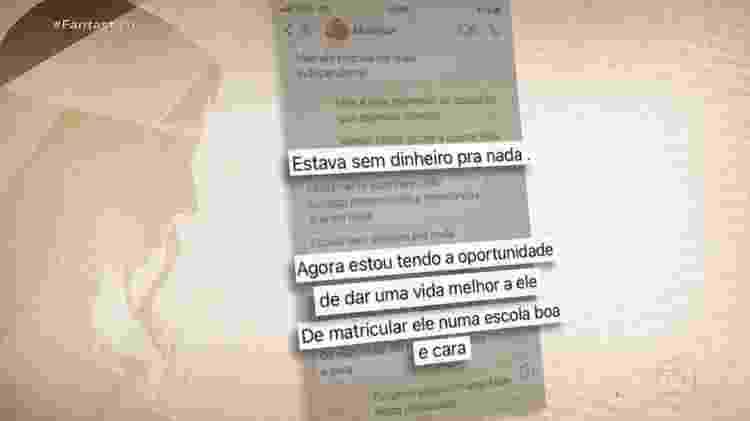 As mensagens que Monique enviou ao pai de Henry no qual relata a melhora da condição de vida - Reprodução/TV Globo - Reprodução/TV Globo