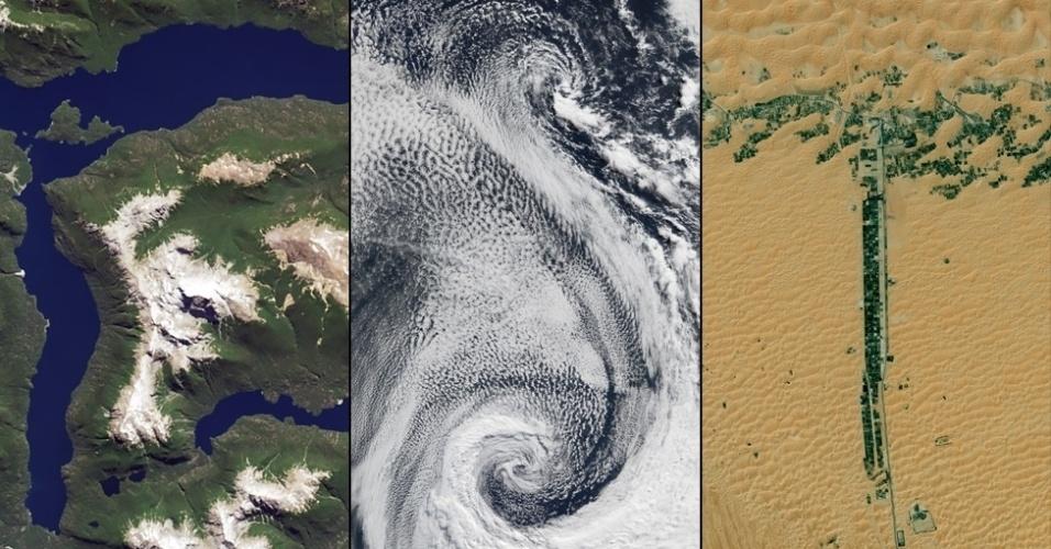 """6.jan.2015 - O Operational Land Imager no Landsat 8 capturou a imagem do lago Menendez na Argentina, que forma a letra """"R"""". Nuvens girando sobre o oceano Atlântico formam a letra """"S"""" e um assentamento que se estende ao lado de duas estradas nos Emirados Árabes Unidos faz a forma da letra """"T"""""""