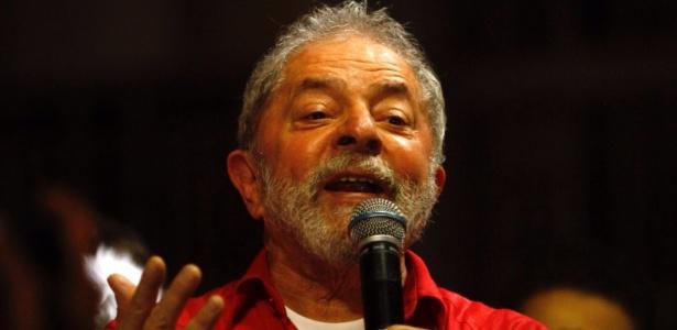 O ex-presidente Luiz Inácio Lula da Silva durante ato contra o impeachment da presidente afastada, Dilma Rousseff