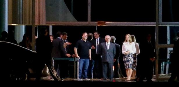 Temer, ao centro, e sua mulher, Marcela, recebem cerca de 300 deputados federais para jantar no Palácio do Alvorada