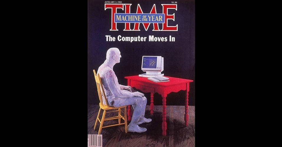 """O computador (1982) - Outra capa que confundiu as pessoas foi quando a """"Time"""" escolheu o computador como personalidade do ano, adaptando a chamada para """"máquina do ano"""", a única da história. Naquele ano, a revista cobriu o começo da revolução causada pela chegada do computador pessoal às casas"""