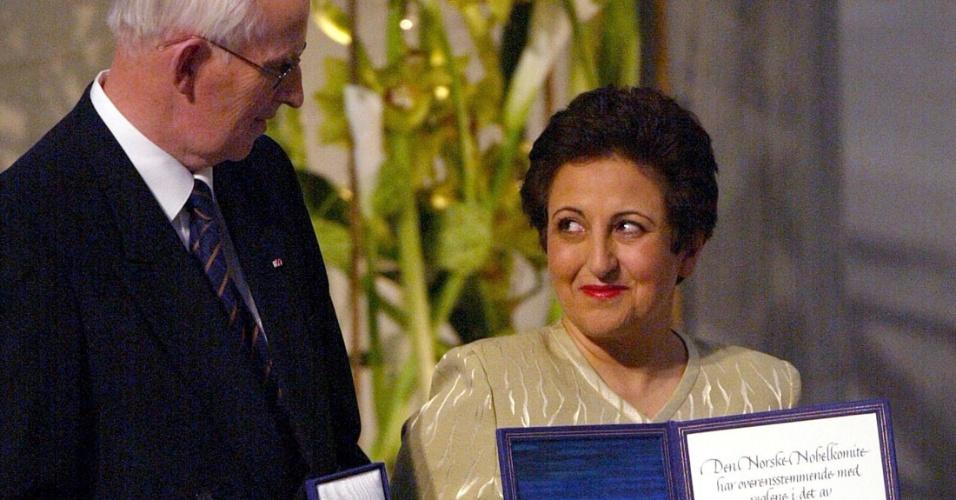 2003 - Shirin Ebadi (Irã) - Ativista dos direitos humanos, especialmente os direitos das mulheres. Foi a primeira pessoa do Irã e a primeira mulher de um país islâmico a receber o Nobel da Paz