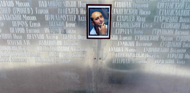 30.mai.2018 - Homenagem em Moscou ao jornalista russo Arakady Babchenko que teve a morte forjada na Ucrânia - Vasily Maximov/AFP Photo