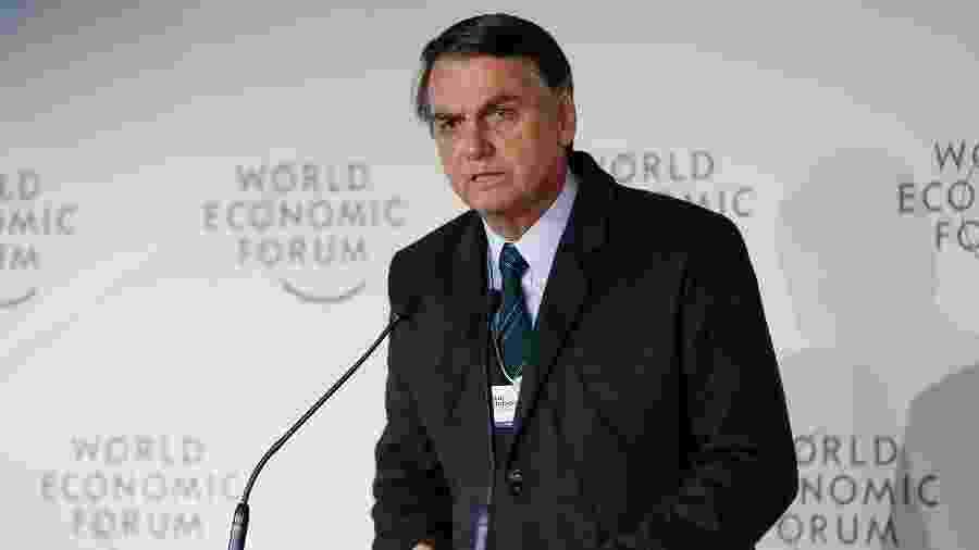 23.jan.2019 - O presidente Jair Bolsonaro durante o Fórum Econômico Mundial, em Davos, na Suíça - Alan Santos/PR
