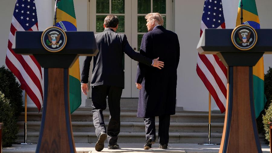 Jair Bolsonaro e Donald Trump em coletiva de imprensa na Casa Branca - Reuters