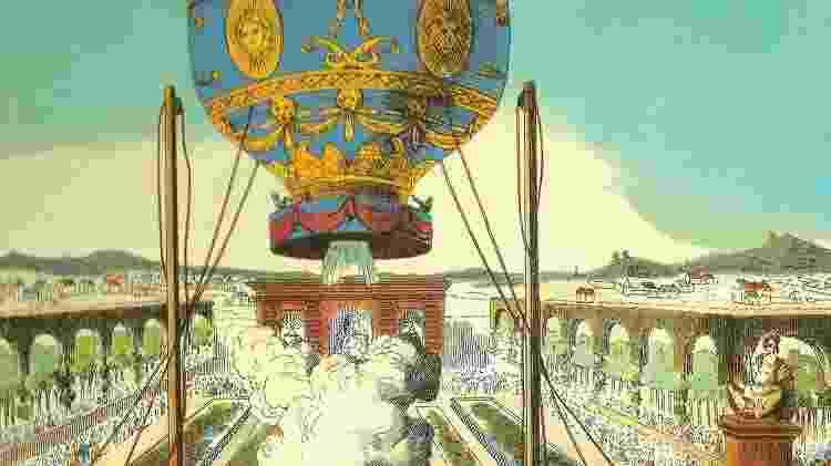 Balão foi a primeira vez que homens voaram - Wikimedia Commons - Wikimedia Commons