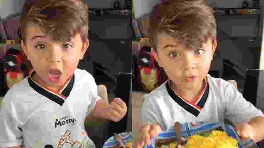 """O pequeno João David, de cinco anos, viraliza com """"ovo, ovo, com cuscuz é mais gostoso"""" - Reprodução/Instagram @joaodavioficiall"""