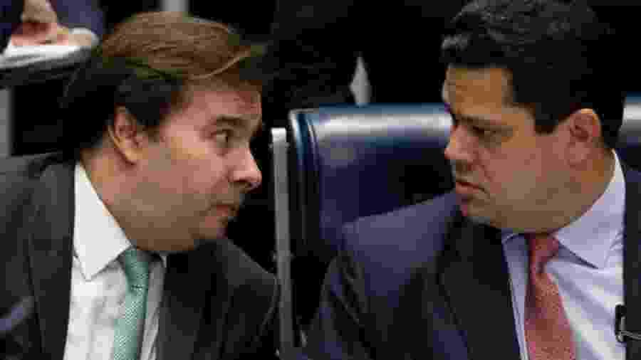 Os presidentes da Câmara, Rodrigo Maia (DEM-RJ), e do Senado, Davi Alcolumbre (DEM-RJ) - Dida Sampaio/Estadão