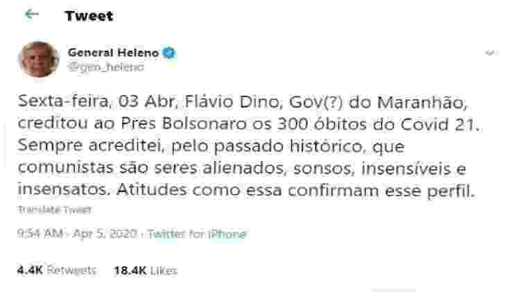 Gafe Heleno - Reprodução/Twitter/General Heleno - Reprodução/Twitter/General Heleno
