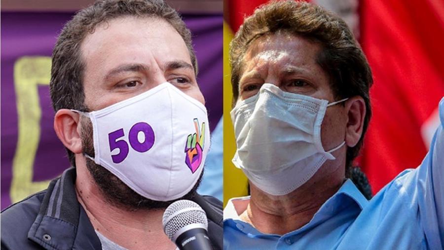 Guilherme Boulos (PSOL), à esq., e Jilmar Tatto (PT) travam batalha por votos petistas - Reprodução