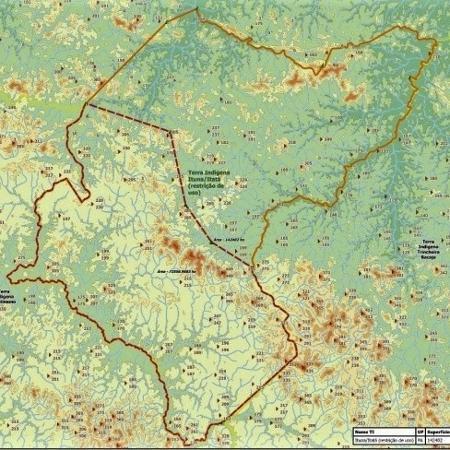 Mapa da Funai indica plano de redução (linha tracejada) da área interditada para proteção de índios isolados em Ituna/Itatá, no Pará  - Reprodução