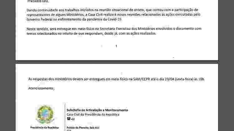 E-mail enviado pela Casa Civil no dia 21/04/2021 para pedir respostas às acusações que o governo Bolsonaro enfrenta no curso da pandemia - Reprodução - Reprodução