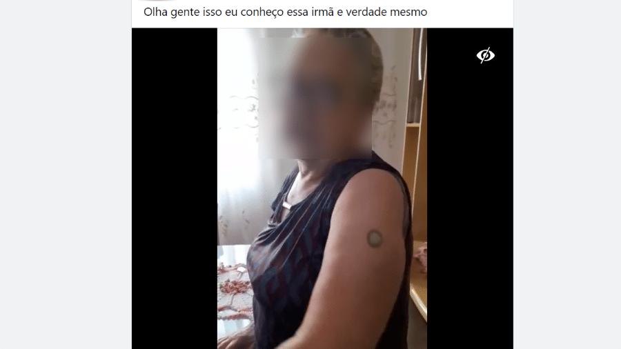14.jun.2021 - Vídeo postado no Facebook mostra suposto magnetismo causado por vacina para covid-19 - Reprodução/Facebook