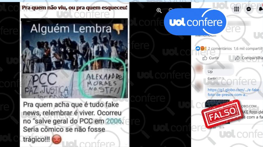 """Montagem mostra presos durante rebelião em 2006 pedindo Alexandre de Moraes no STF; a original não cita o ministro e continha a mensagem """"contra a opressão"""" - UOL Confere"""