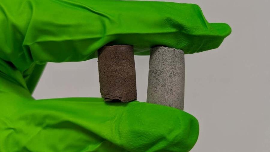 Amostra do concreto feito com urina e sangue que pode ser usado em Marte - Divulgação/Universidade de Manchester