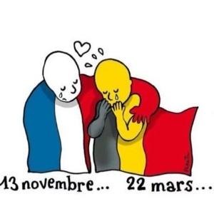 Cartunistas prestam solidariedade às vítimas dos ataques terroristas em Bruxelas - Reprodução/Twitter