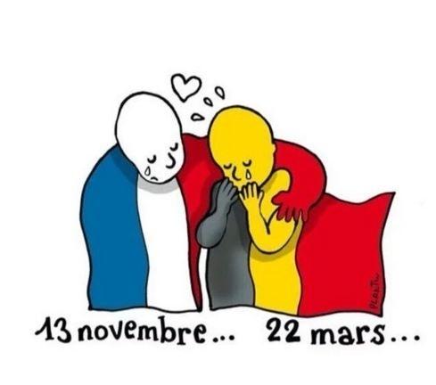 22.mar.2016 - O famoso cartunista francês Plantu divulgou sua solidariedade às vítimas dos ataques terroristas em Bruxelas fazendo um paralelo com os atentados de 13 de novembro do ano passado em Paris. A Bélgica tem tradição na arte e recebe um dos maiores festivais de cartuns do mundo, o Knokke Heist