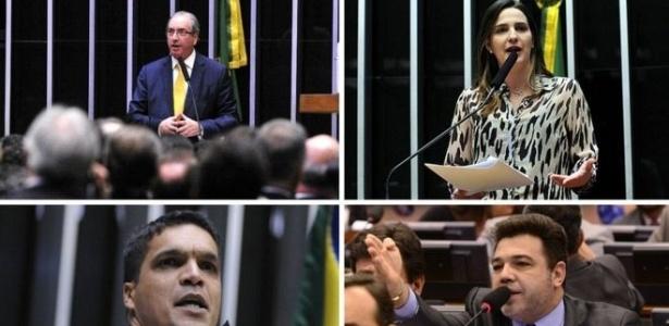 Da esq. para a dir., de cima para baixo: Cunha, Clarissa Garotinho, Cabo Dalciolo e Marco Feliciano
