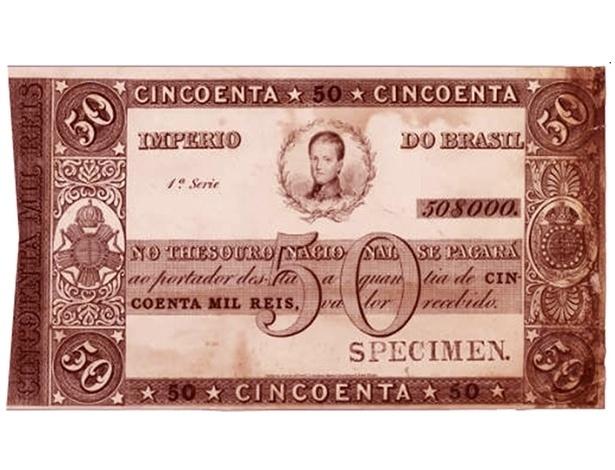 Foto de 50 mil réis que circulou durante o período do Império. Nova imagem de D.Pedro II, agora jovem